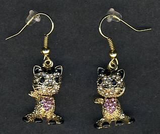 FRENCH BULLDOG Fawn HEART EARRINGS Ornate Tibetan Silver JEWELRY